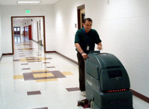 Floor Cleaning with Machine